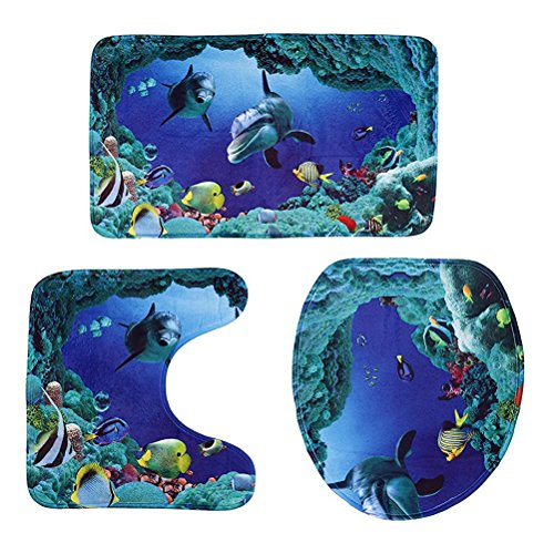 ROSENICE Badezimmer Vorleger 3-teiliges - Ozean-Muster