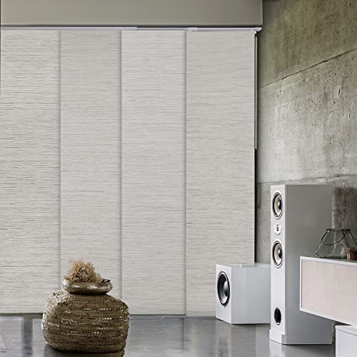 GoDear Design Deluxe 99.99% Blackout Adjustable Sliding Panel Track Blind 45.8'- 86' W x 96' H, Extendable 4-Rail Track, Metallic Luster Trimmable Pleated Natural Woven Fabric, Mica +