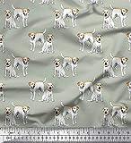 Soimoi Grun Baumwolljersey Stoff Labrador Hund gedruckt
