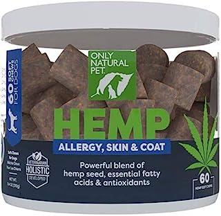 Only Natural Pet Allergy, Skin & Coat Hemp Soft Chews - with Omega 3 Fish Oil EPA/DHA Essential Fatty Acids, Bromelain, Qu...