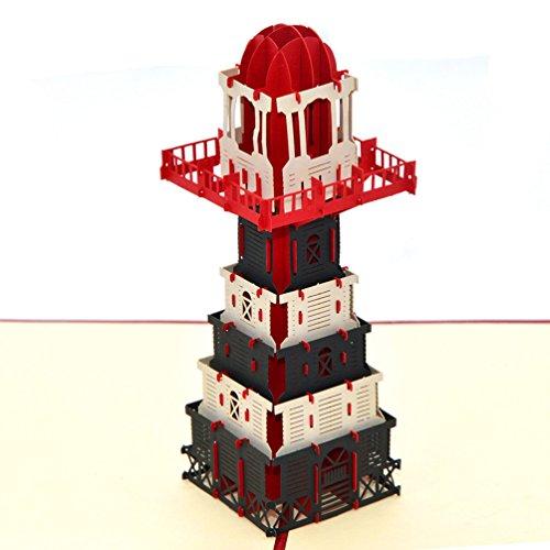 Medigy POP UP Karte 8D Glückwunschkarte Grußkarte mit Leuchtturm, handgefertigt Für die meisten Situationen-Kreatives Geschenk