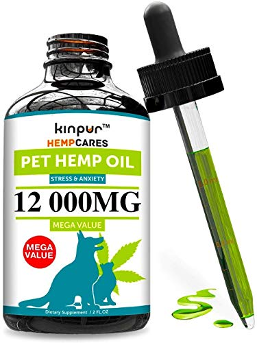 Hemp Oil for Dogs & Cats - 12 000mg - Anxiety Relief for Dogs & Cats - Pet Hemp Oil - Supports Hip & Joint Health - Grown & Made in USA - Natural Relief for Pain - Omega 3, 6 & 9