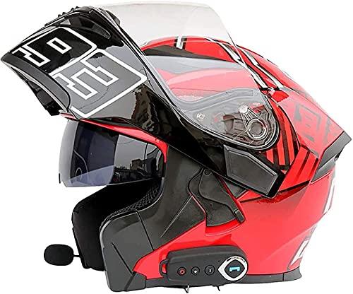 Bluetooth Modular Flip Up Front Casco De Motocicleta Doble Visera Moto Casco De Ciclomotor De Cara Completa Casco De Protección Para Scooter Aprobado Por ECE Radio FM Incorporada D,M