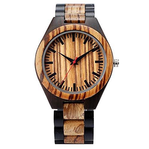 LOOMUCI Reloj de Madera Zebrawood Stripe Dapple Pattern Relojes de Madera Reloj para Hombre Reloj de Madera Natural Moda Deportiva única Reloj Casual para Regalos Masculinos, Solo Reloj