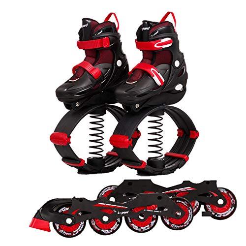 2 En 1 Zapatos De Rebote Zapatos De Patines, Uso En Interiores Y Exteriores, Niños Saltando Pilotes Ejercicio Fitness Ejercicio Bota Saltos Saltos Zapatos De Primavera,Rojo,S