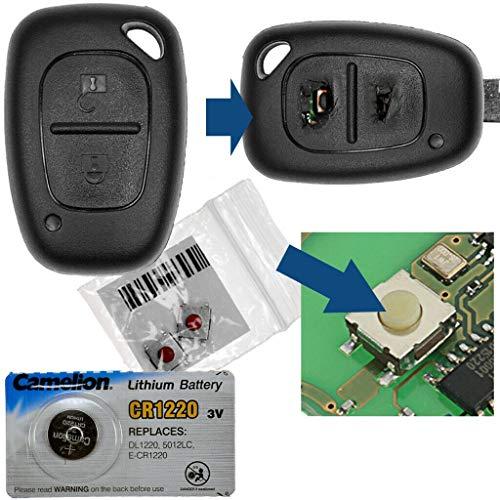 Repair Reparatur Satz Gehäuse Funkschlüssel Fernbedienung Autoschlüssel Gehäuse 1x Gehäuse 2 Tasten + 2X Mikrotaster + 1x CR1220 Batterie kompatibel mit Renault/Opel/Nissan