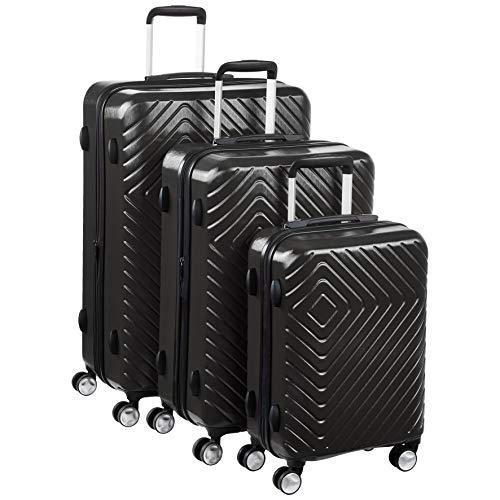 Amazon Basics – Trolley mit geometrischem Muster, 3-teiliges Set (55 cm, 68 cm, 78 cm), Schwarz