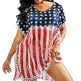 UPS Sonnenschutz-Bluse mit Fransen, US-Flagge, Chiffon-Badeanzug, Strand-Badeanzug, Unabhängigkeitstag