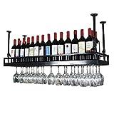 WEIB-botellero Estante del Vino Negro - Estilo Moderno Estante de la Copa de Vino Que cuelga del Hierro Estante de decoración de Techo para Bar, restaurantes, Cocina o Bodega de vinos [Más tamaño]