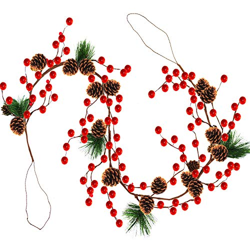 TURNMEON 6 Foot Christmas Garland Decor with Pine Cones Red Berries Bristle Pine Garland Xmas Decoration Indoor Outdoor Home Mantle Fireplace Holiday Decor