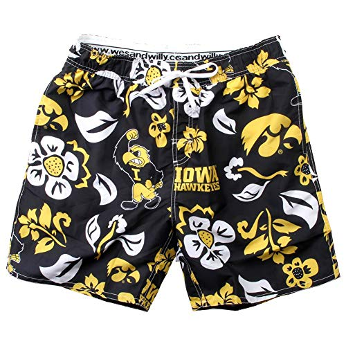 Wes and Willy NCAA Mens Floral Swim Shorts (X-Large, Iowa Hawkeyes)