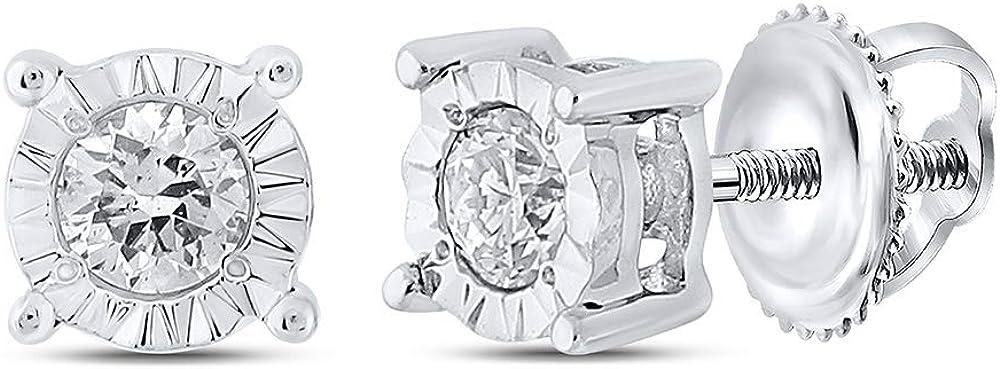 10kt White Gold Mens Round Diamond Stud Earrings 1/8 Cttw