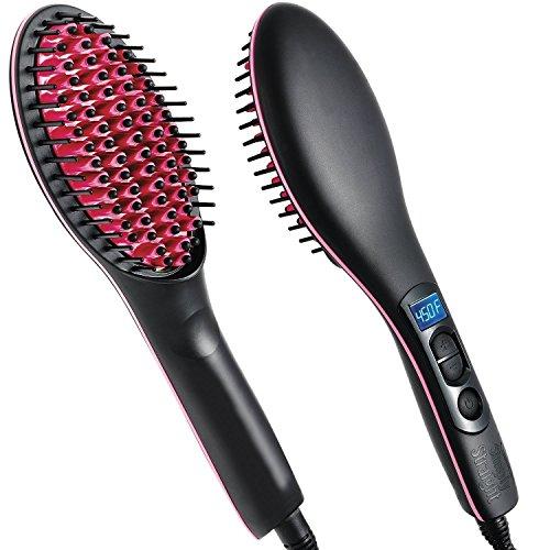 Cepillo alaciador de cabello con control de temperatura