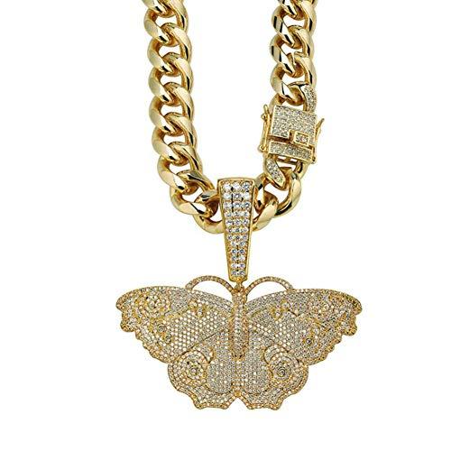 Hip-Hop-Splitter Gold-Schmetterling Halskette Mikro Pflastern Zircon Gefror Heraus Tier Schmuck Mann-Frauen-Geschenk,2