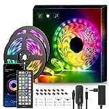 mexllex LED-Streifen, 15 m 5050 RGB LED-Streifen, Steuerung über Smartphone-App, Synchronisierung von Musik, Dekoration für Zimmer, Party, Geburtstag, Weihnachten, Stimmungslicht