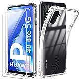 Reshias Funda para Huawei P40 Lite 5G con Dos Cristal Templado Protector de Pantalla, Suave TPU Transparente Gel Silicona Anti Caída Protectora Carcasa para Huawei P40 Lite 5G (6.5 Pulgadas)