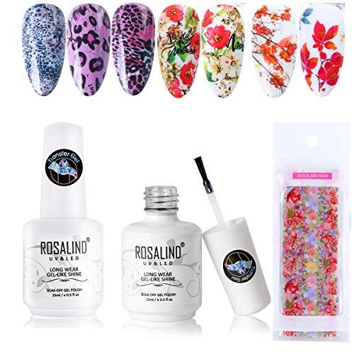 Blume Nagelfolien Transferaufkleber Set mit Nail Art Folienkleber Gel 2 * 15ML, Leopard Tipps zum Übertragen Nagelaufkleber Nail Art Dekorationen