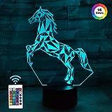 FULLOSUN ilusión nocturna 3D LED lámpara de escritorio de caballo, 16 colores de carga USB, decoración de dormitorio para niños, Navidad, Halloween, cumpleaños