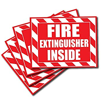 Wrapco  4 Pack  Fire Extinguisher Inside Sticker Decal Sign Self Adhesive for Trucks or Equipment