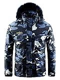 Men's Waterproof Ski Jacket Mountain Windproof Rain Snowboarding Jackets Winter Fleece Warm Snow Hooded Coat (Camouflage, L)