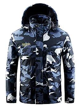 Men s Waterproof Ski Jacket Mountain Windproof Rain Snowboarding Jackets Winter Fleece Warm Snow Hooded Coat  Camouflage L