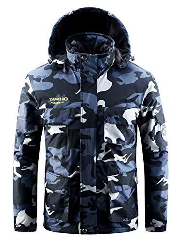 Men's Waterproof Ski Jacket Mountain Windproof Rain Snowboarding Jackets Winter Fleece Warm Snow Hooded Coat (Camouflage, M)