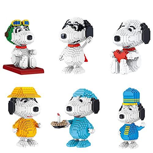 LDDZB Snoopy Set Diamond Blocks Dog Modelo 3D Mini Building Bricks Figuras para Juguetes de Ladrillos, 6 Pack