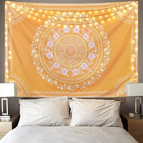 Tapiz de medallón bosquejado con diseño de mandala, tapiz amarillo para habitación (amarillo, 130 x 150 cm)