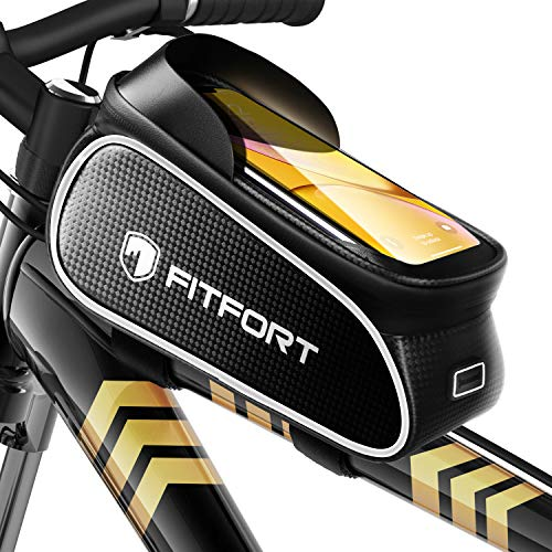 FITFORT Bike Frame Bag, Waterproof Bike Accessories with Touch Screen Case, Large Capacity Bike Phone Bag with Sun Visor for iPhone Samsung and Android Phones Under 6.7""