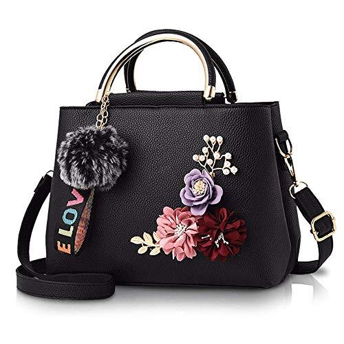 Bolso De Cuero Para Mujer Bolsos De Hombro Con Flor Bolso Con Asa Vintage Bolso De Mano De Diseñador Con Pompón Negro