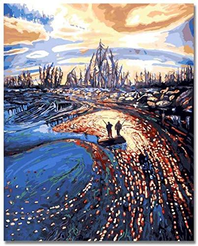 NANA318 Fotolijst van hout, digitaal, kinderen, volwassenen, beginners, knutselen, olieverfschilderij, rivier, vissen, 16 x 20 inch canvas, muurdruk, Art Deco houten lijst_Angler_Am_Riluss-D3
