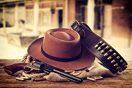 Cowboy Hut Revolver Wilder Westen Bild XXL Wandbild Kunstdruck Foto Poster P1198 Größe 90 cm x 60 cm