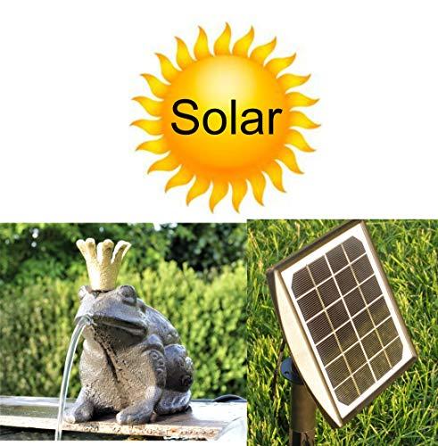 powershop11 Wasserspeier Froschkönig Guß 13 cm mit Solarpumpe Solaris 170