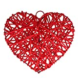 YeahiBaby Corazón de Ratán de Mimbre para Decoración de Fiesta de Boda Cumpleaños de Manualidades Bricolaje de Artesanía (Rojo)