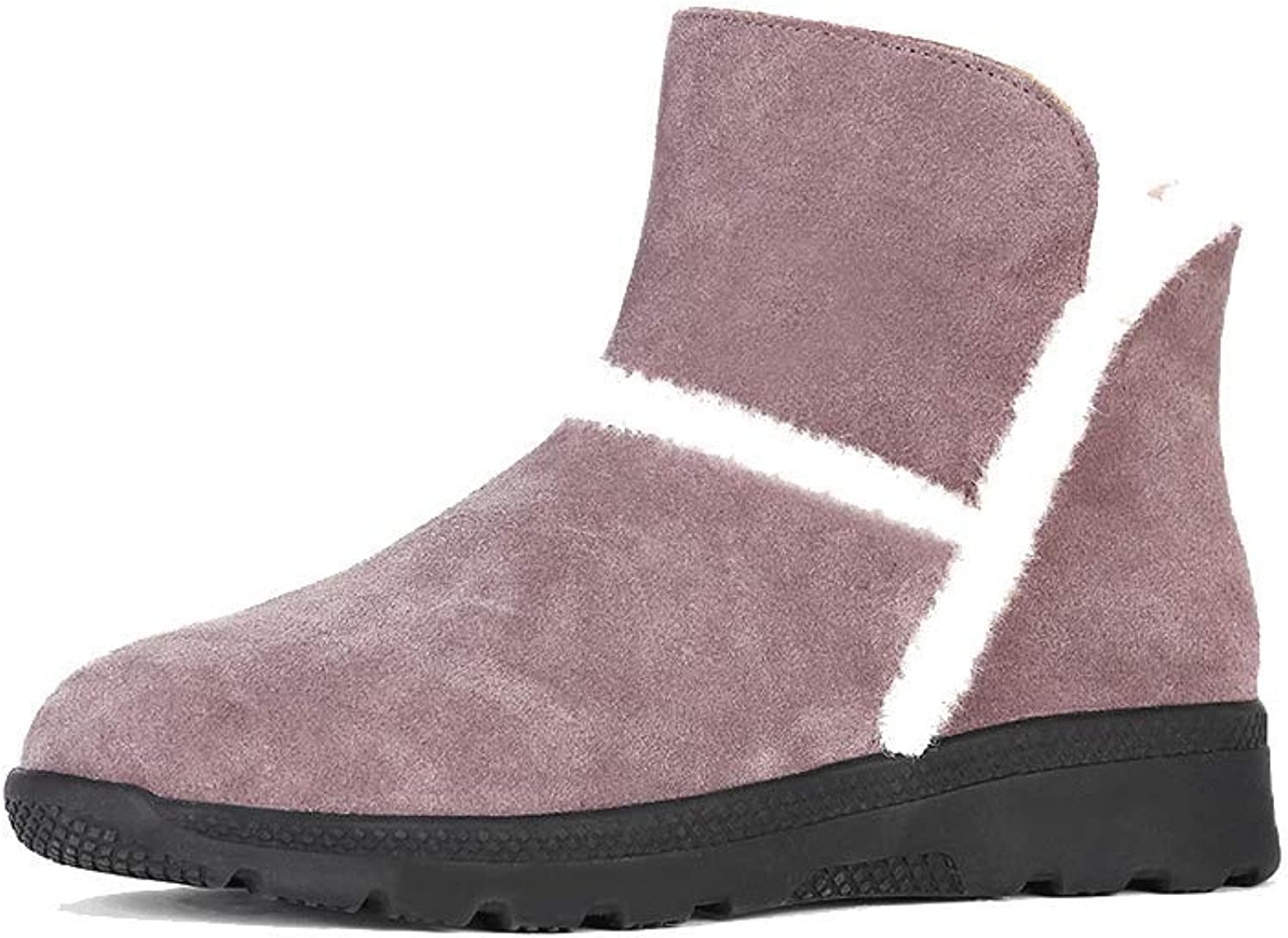 Ailj Snow Boots, Ladies Outdoor Leather Fluff One Booties Non-Slip Warm Boots Thick Cotton Boots (3 colors) (color   Pink, Size   40 EU 7.5 US 6.5 UK 25cm JP)