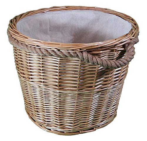 Willow wicker Log & Kindling Baskets. In grey and natural. Cotton Lining. Natural Storage Solution. Open storage box for wood & Fireplaces (44 ltr, Natural Round)
