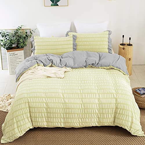 Seersucker Stripe Duvet Cover Set, Textured Beige Reversible Comforter Cover Set 3 Pieces Queen Size Ruffle 100% Washed Microfiber Bedding Set with 2 Pillowcases Quilt Cover Light Yellow Queen 90'x90'
