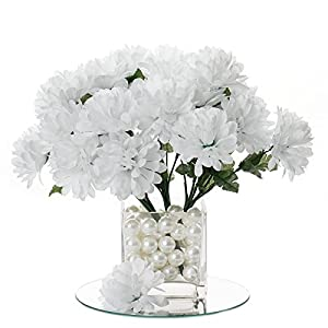BalsaCircle 84 White Silk Chrysanthemums – 12 Bushes – Artificial Flowers Wedding Party Centerpieces Arrangements Bouquets Supplies