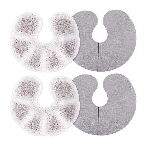 Navaris 2x Bolsa de gel frío calor - Compresas para los pecho durante lactancia - Bolsa caliente y hielo para maternidad - Reutilizable con funda
