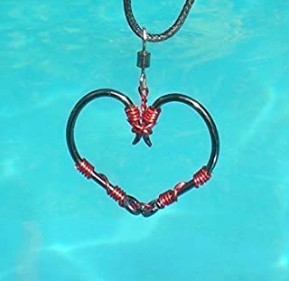 The ORIGINAL FISH HOOK HEART Necklace - Red Wire on Black Hooks