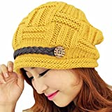 Samtree Womens Beanie Hats,Stretch Crochet Knit Winter Warm Woolen Ski Cap(01-Yellow)