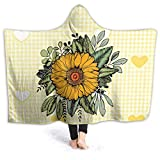 Yuanmeiju Sunflower Wearable Flannel Blanket Throw Super Soft Plush Luxury Lightweight for Sofa Couch Bed for Adult