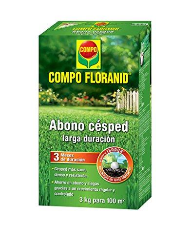 Compo FLORANID Abono césped Larga duración de hasta 3 Meses, para 100 m², Negro, 3 kg