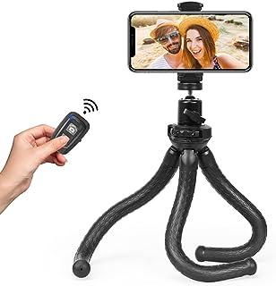 Fotopro Mobiele telefoon statief, flexibel statief voor smartphone met universele clip en Bluetooth afstandsbediening draa...