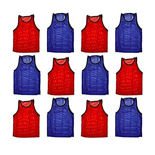 BlueDot Trading Youth Sports Pinnie Scrimmage Training Vest, Combo Red/Blue, 12 Pack