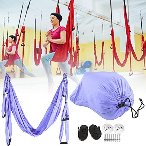 FOLOSAFENAR Hamaca de Yoga, Hamaca de Columpio de Yoga Herramienta de inversión antigravedad Que Reduce la Fatiga para Exteriores para Interiores(Blue Purple)