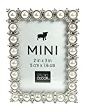 Studio Decor Silver Tone Imitation Pearl Metal Mini Picture Frame, 2 X 3 (Standard Version)