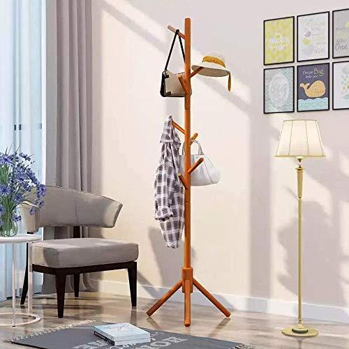 Perchero de madera con 8 ganchos, soporte para colgar sombreros de pie, bandeja para abrigos, árboles, pasillos, ropa, trajes, bufandas, paraguas