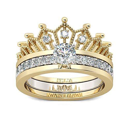 MEIbax Sencillez Divisible Anillo Crown Lady Circón microincrustado de Dos Piezas Anillo Dos en uno Corona Desmontable Anillo para Mujer Circón microincrustado Dos Piezas