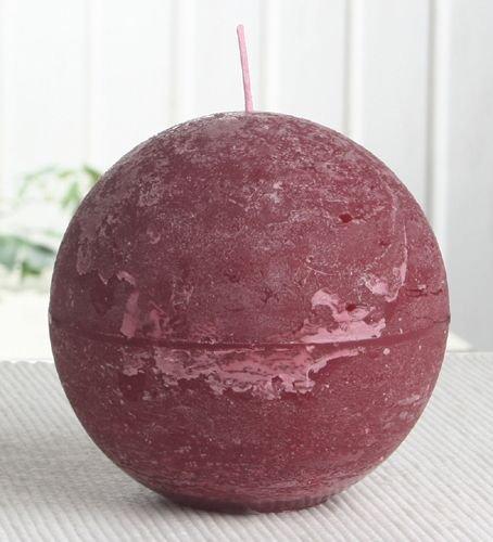 Rustik-Kugelkerze, 10 cm Ø, rubinrot-bordeaux